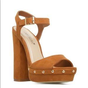 Shoedazzle Bethzy Gold Studded Cognac Brown Heels